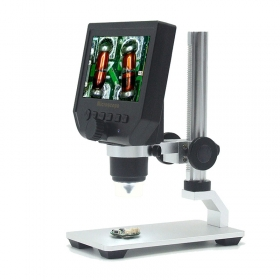 Digital Portable 1-600X 3.6MP 4.3inch HD OLED Display Microscope Continuous Magnifier with Aluminum Alloy Stand