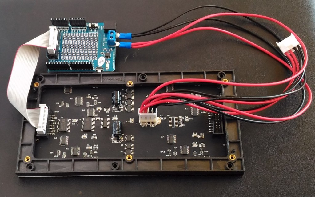 Connecting the RGB panel to Arduino shield