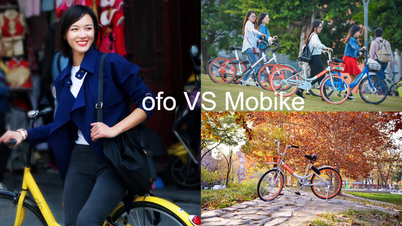 sharing bicycle on the street (ofo vs mobike)