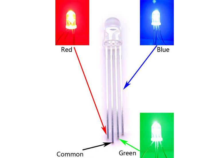 5mm Triple Output LED RGB - Common Anode(5Pcs)