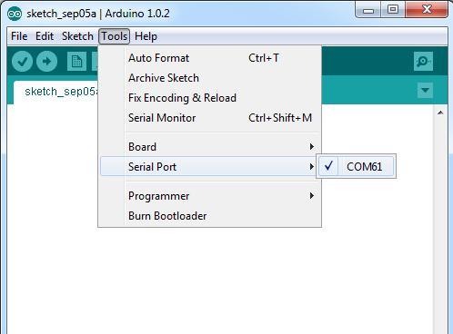 В меню Tools Serial Port выберите необходимый последовательный порт, чтобы